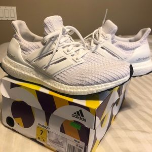 Women's all white Adidas ultra boost